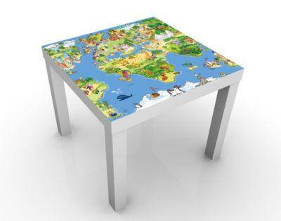 Design Tisch Great and Funny Worldmap 55x45x55cm Beistelltisch, Couchtisch, Motiv-Tisch, Wohnzimmer, Welt, Kinder, Kontinent, Spiel, International