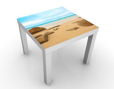 Design Tisch The Beach 55x45x55cm Beistelltisch, Couchtisch, Motiv-Tisch, Wohnzimmer, Sonne, Strand, Meer, Ozean, Urlaub