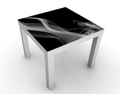 Design Tisch Silver Smoke 55x45x55cm Beistelltisch, Couchtisch, Motiv-Tisch, Wohnzimmer, Digitale Kunst, Abstrakt, Rauch, Magie, Nebel