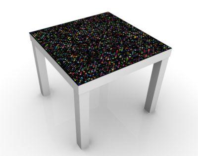 Design Tisch Outer Space 55x45x55cm Beistelltisch, Couchtisch, Motiv-Tisch, Wohnzimmer, All, Punkte, Disco, Schwarz, Retro