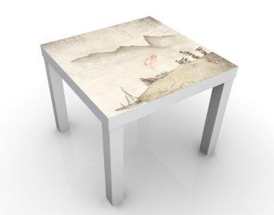 Design Tisch No.MW8 Japanische Stille 55x45x55cm Beistelltisch, Couchtisch, Motiv-Tisch, Wohnzimmer, Asien, Natur, Fisch, Wasser, Berge