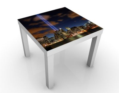 Design Tisch Tribute To The Lights 55x45x55cm Beistelltisch, Couchtisch, Motiv-Tisch, Wohnzimmer, New York, Amerika, Lichter, Denkmal, September
