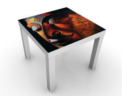 Design Tisch Bombay Buddha 55x45x55cm Beistelltisch, Couchtisch, Motiv-Tisch, Wohnzimmer, Buddha, Spirituell, Glauben, Buddhismus, Yoga