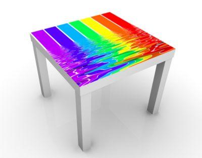 Design Tisch Rainbow Coloured 55x45x55cm Beistelltisch, Couchtisch, Motiv-Tisch, Wohnzimmer, Regenbogen, Farbe, Wasser, Wassermalfarben, Bunt