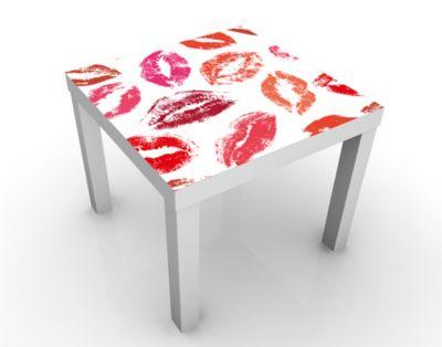 Design Tisch Kisses 55x45x55cm Beistelltisch, Couchtisch, Motiv-Tisch, Wohnzimmer, Kuss, Lippenstift, Erotik, Mund, Liebe