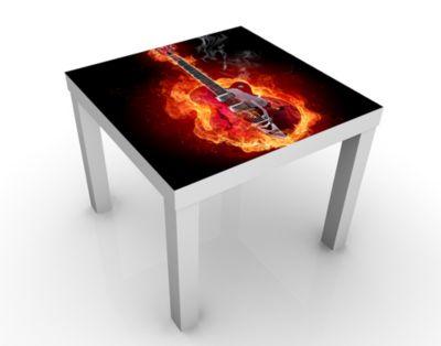 Design Tisch Gitarre in Flammen 55x45x55cm Beistelltisch, Couchtisch, Motiv-Tisch, Kinderzimmer, Feuer, Flamme, Gitarre, Musik, Instrument