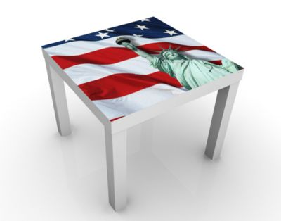 Design Tisch In God We Trust 55x45x55cm Beistelltisch, Couchtisch, Motiv-Tisch, Wohnzimmer, Amerika, Freiheitsstatue, Flagge, Sterne, Streifen