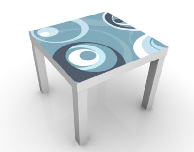 Design Tisch Watching You 55x45x55cm Beistelltisch, Couchtisch, Motiv-Tisch, Wohnzimmer, Pop Art, Abstrakt, Blau, Kreise, Retro