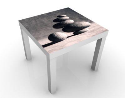 Design Tisch In Harmony 55x45x55cm Beistelltisch, Couchtisch, Motiv-Tisch, Wohnzimmer, Yin Und Yang, Ruhe, Balance, Steine, Meer