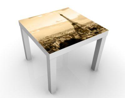 Design Tisch I Love Paris 55x45x55cm Beistelltisch, Couchtisch, Motiv-Tisch, Wohnzimmer, Frankreich, Liebe, Eiffelturm, Oktogons, Polygone