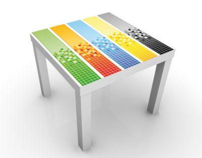 Design Tisch Pixel Mix 55x45x55cm Beistelltisch, Couchtisch, Motiv-Tisch, Buero, Bunt, Modern, Computer, Grafik, Farbe