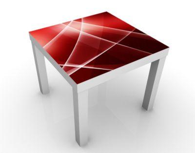 Design Tisch Red Reflection 55x45x55cm Beistelltisch, Couchtisch, Motiv-Tisch, Wohnzimmer, Rauch, Rot, Bogen, Kurven, Wellen