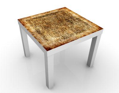 Design Tisch Old Letters 55x45x55cm Beistelltisch, Couchtisch, Motiv-Tisch, Wohnzimmer, Schrift, Buchstaben, alt, Kunst, Zeichen