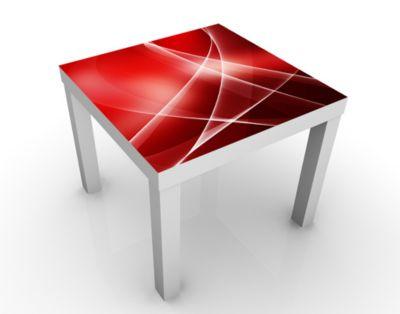 Design Tisch Red Heat 55x45x55cm Beistelltisch, Couchtisch, Motiv-Tisch, Wohnzimmer, Rot, Abstrakt, Linien, Kurven, Wellen