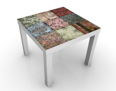 Design Tisch Old Patterns 55x45x55cm Beistelltisch, Couchtisch, Motiv-Tisch, Wohnzimmer, Stoff, Kunst, Muster, Deko, Farben