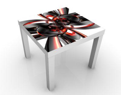 Design Tisch Shining Red Circles 55x45x55cm Beistelltisch, Couchtisch, Motiv-Tisch, Wohnzimmer, Kurven, Linien, Wellen, Bogen, 3D