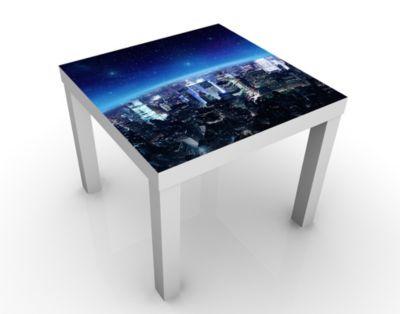 Design Tisch Illuminated New York 55x45x55cm Beistelltisch, Couchtisch, Motiv-Tisch, Wohnzimmer, Amerika, Nacht, Stadt, Metropolitan, USA