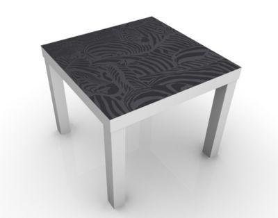 Design Tisch No.DS3 Zebrastreifen Schwarz 55x45x55cm Beistelltisch, Couchtisch, Motiv-Tisch, Wohnzimmer, Asien, Kranich, Geisha, China, Japan
