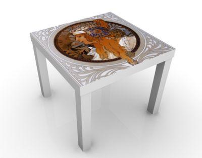 Design Tisch Loren 55x45x55cm Beistelltisch, Couchtisch, Motiv-Tisch, Wohnzimmer, Jugendstil, Kunst, Gemaelde, Nostalgie, Frau