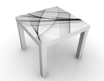 Design Tisch Vibration 55x45x55cm Beistelltisch, Couchtisch, Motiv-Tisch, Wohnzimmer, Abstrakt, Kurven, Linien, Wellen, Grau