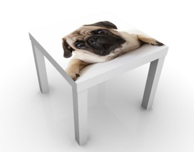 Design Tisch Mops 55x45x55cm Beistelltisch, Couchtisch, Motiv-Tisch, Wohnzimmer, Treu, Hund, Welpe, Niedlich, Baby