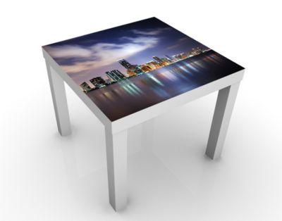 Design Tisch Miami bei Nacht 55x45x55cm Beistelltisch, Couchtisch, Motiv-Tisch, Wohnzimmer, Stadt, Wolkenkratzer, USA, America, Nacht