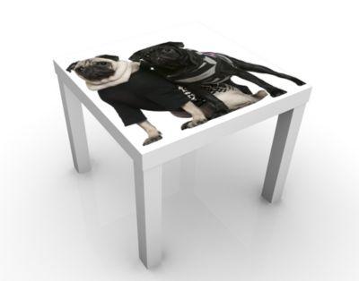 Design Tisch Mops Fashion 55x45x55cm Beistelltisch, Couchtisch, Motiv-Tisch, Wohnzimmer, Treu, Hund, Welpe, Niedlich, Baby