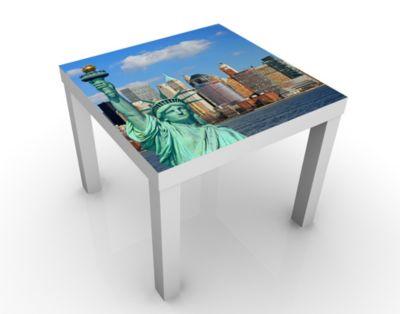 Design Tisch New York Skyline 55x45x55cm Beistelltisch, Couchtisch, Motiv-Tisch, Wohnzimmer, Amerika, Big Apple, Metropole, Silhouette, Freiheitsstatu