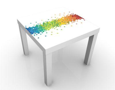 Design Tisch Pixel-Regenbogen 55x45x55cm Beistelltisch, Couchtisch, Motiv-Tisch, Wohnzimmer, Regenbogen, Bunt, Farbe, Quadrat, Computer