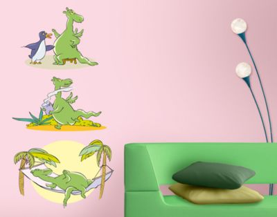 wandtattoo bord re urmel h ngematte kinderzimmer dinosaurier drachen dschungel abenteuer. Black Bedroom Furniture Sets. Home Design Ideas