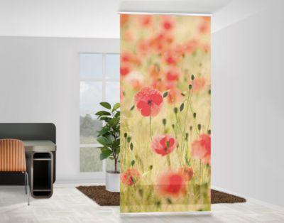 design raumteiler poppy flower blumen schiebe gardine fl chen vorhang paravent natur gras mohn. Black Bedroom Furniture Sets. Home Design Ideas