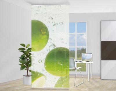design raumteiler swimming limes limetten schiebe gardine fl chen vorhang paravent gr n citrus. Black Bedroom Furniture Sets. Home Design Ideas