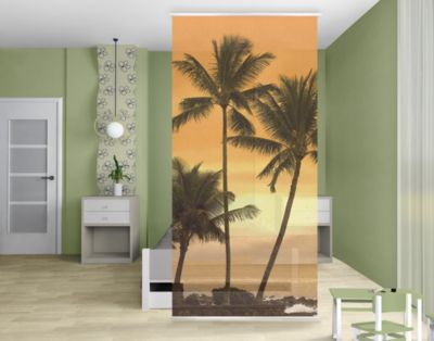 design raumteiler caribbean sunset karibik schiebe gardine fl chen vorhang paravent strand meer. Black Bedroom Furniture Sets. Home Design Ideas