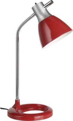 Moderne Tischleuchte Jan, silber/rot