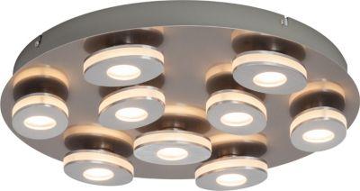Crossing LED Wand- und Deckenleuchte, 9-flammig nickel/alu