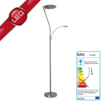 Moderner LED Deckenfluter Niera mit LED Lesearm, 4-Stufen Dimmer, LED integriert 24W (1700 Lumen) / 3W (270 Lumen), Eisen