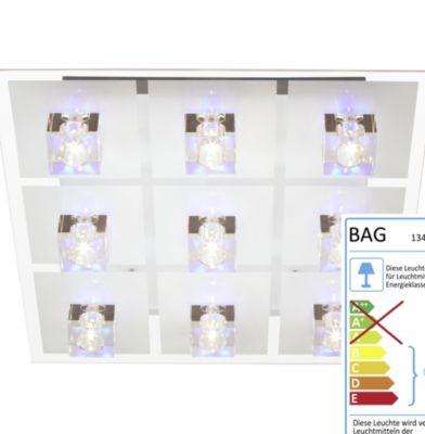 farbwechselnde LED Deckenleuchte Sandoria, 9-flammig mit Fernbedienung