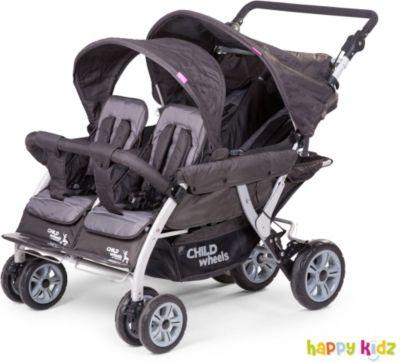 Krippenwagen - Vierlingsbuggy 2 mit Auto Brake inkl. Regenschutz & Schutzhülle