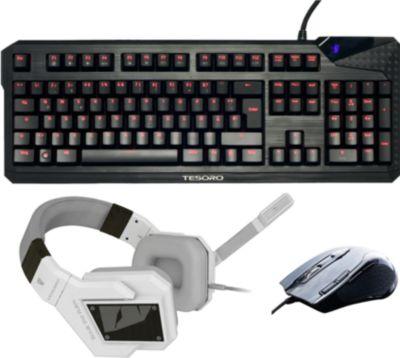 Im Plus.de Online Shop zu haben: Tesoro Bundle (Tastatur Durandal Ultimate Schwarz + Headset Kuven Weiss + Maus Shrike) (PC)