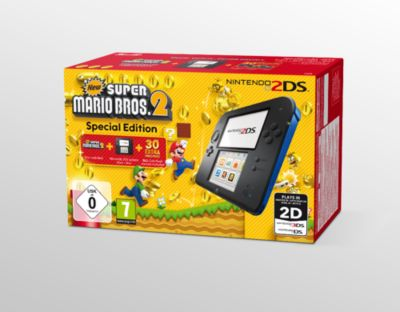 Nintendo 2DS Schwarz/Blau inklusive New Super M...