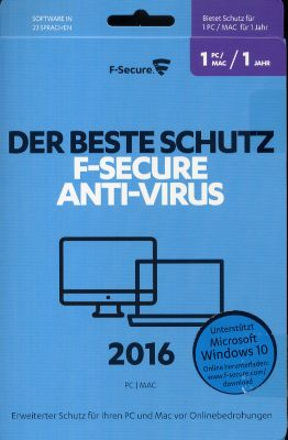 F-Secure Anti-Virus PC & MAC 2016 (1 Jahr/1 Platz) (PC) 1642325000