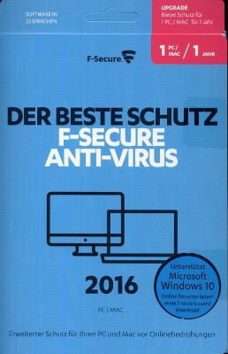 F-Secure Anti-Virus PC & MAC 2016 Upgrade (1-Jahr/1 Platz) (PC) 1642326000