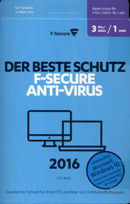 F-Secure Anti-Virus PC & MAC 2016 (1 Jahr/3-Platz) (PC MAC) 1684351000