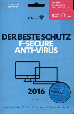 F-Secure Anti-Virus PC & MAC 2016 Upgrade (1 Jahr/3 Platz) (PC MAC) 1684352000