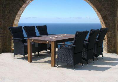 Rattan Gartenmöbel Sitzgruppe Sitzbank Sitzgarnitur Lanzarote - Schwarz 13tlg