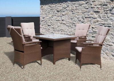 Famous Home 9tlg Rattanmöbel Tisch 90x90cm Gartenmöbel Essgruppe Sitzgarnitur