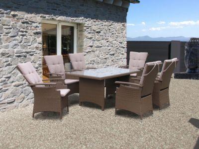 Famous Home 13tlg Rattanmöbel Tisch 150x90cm Gartenmöbel Essgruppe Sitzgarnitur