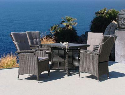 Famous Home 9tlg Rattanmöbel Tisch 90x90cm Sitzgruppe Vintage Essgruppe Sitzgarnitur