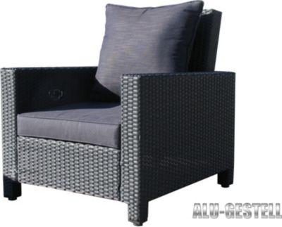 Rattan Lounge Loungesessel 80cm Sessel Sofa Relaxsessel Schlafsessel Schwarz