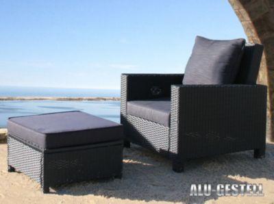 Famous Home 5tlg. Rattan Set Schwarz Lounge Loungemöbel Gartenmöbel Rattanmöbel Gartensessel Tisch Hocker